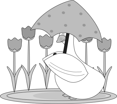 Black and White Duck in a Puddle Clip Art.