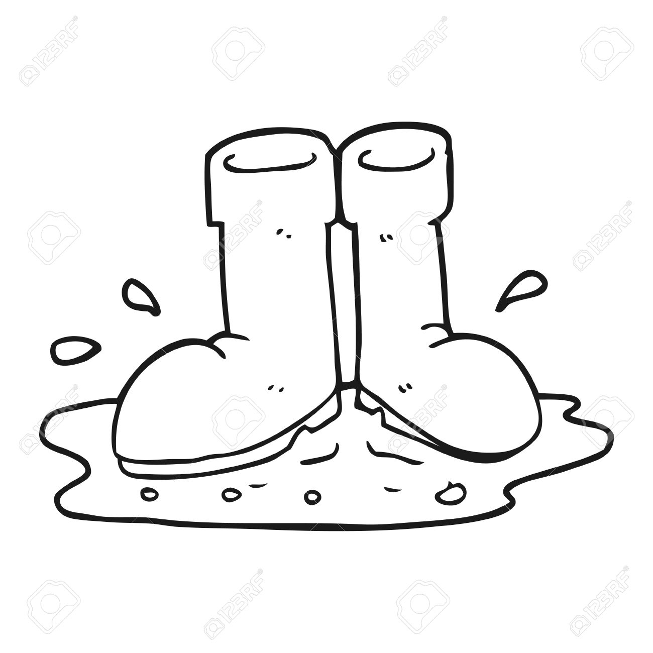 Freehand Drawn Black And White Cartoon Wellington Boots In Puddle.