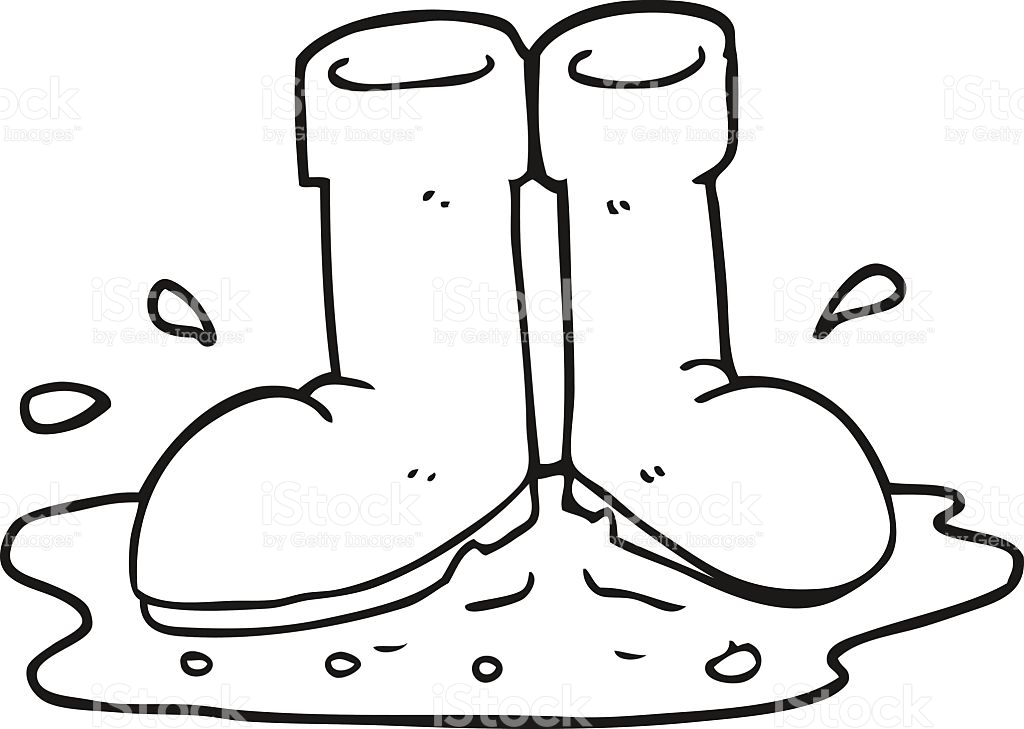 Black And White Cartoon Wellington Boots In Puddle stock vector.