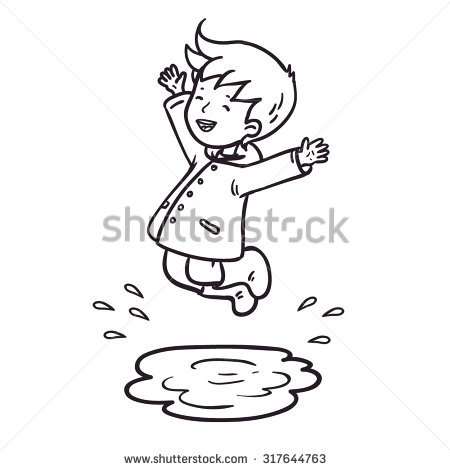 Jumping in Puddles Clip Art.