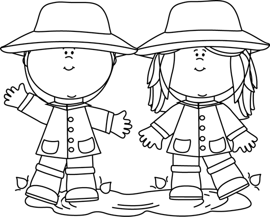Black and White Kids Playing in a Rain Puddle Clip Art.