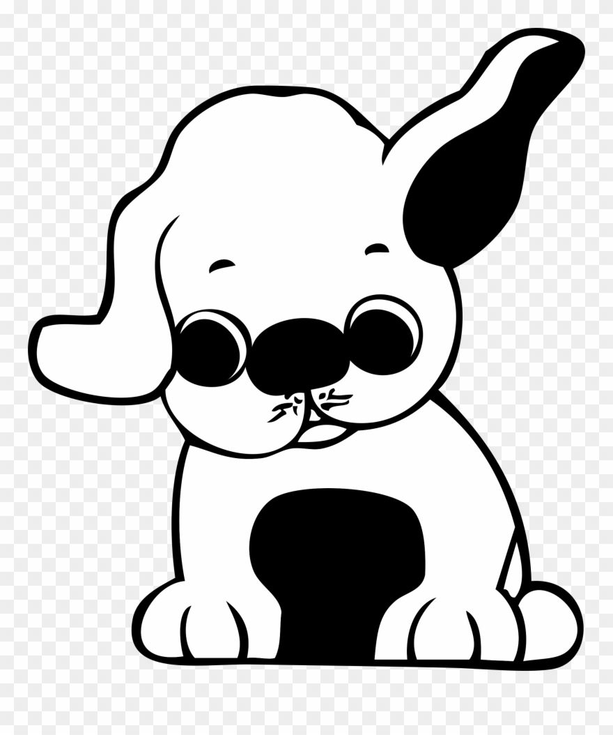 Puppy Clipart Black And White.