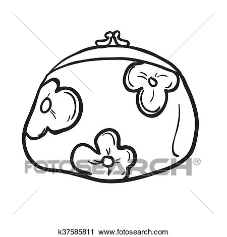 Black and white coin purse Clipart.