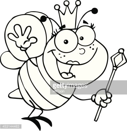 Black and White Queen Bee Waving For Greeting Clipart Image.