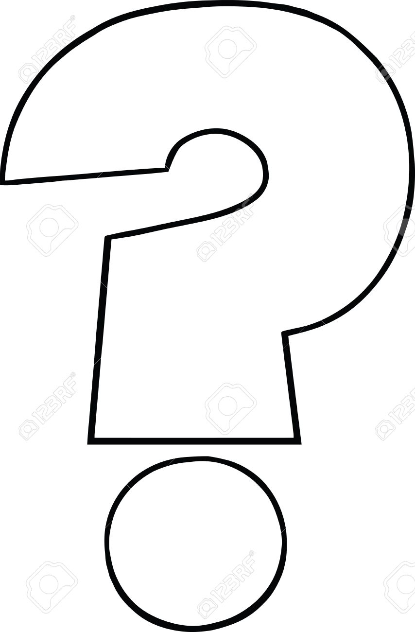 Black and White Cartoon Question Mark.