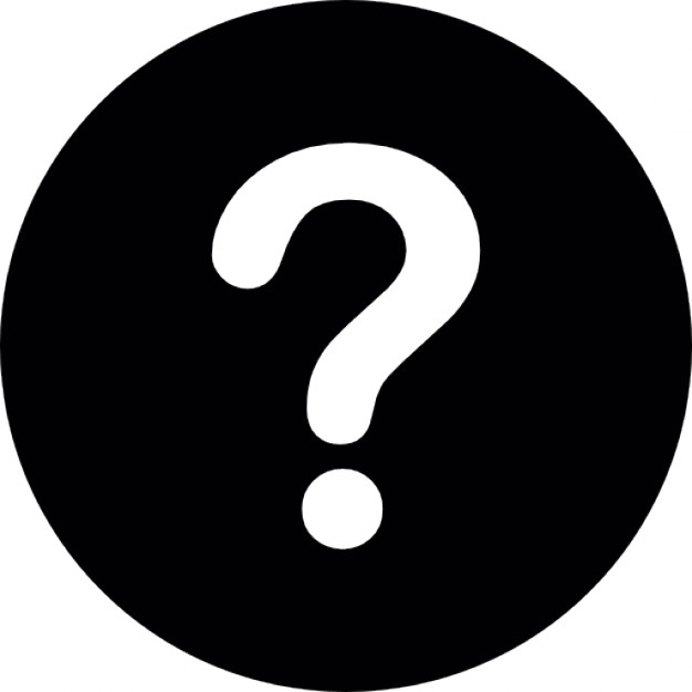 White question mark on a black circular background Icons.