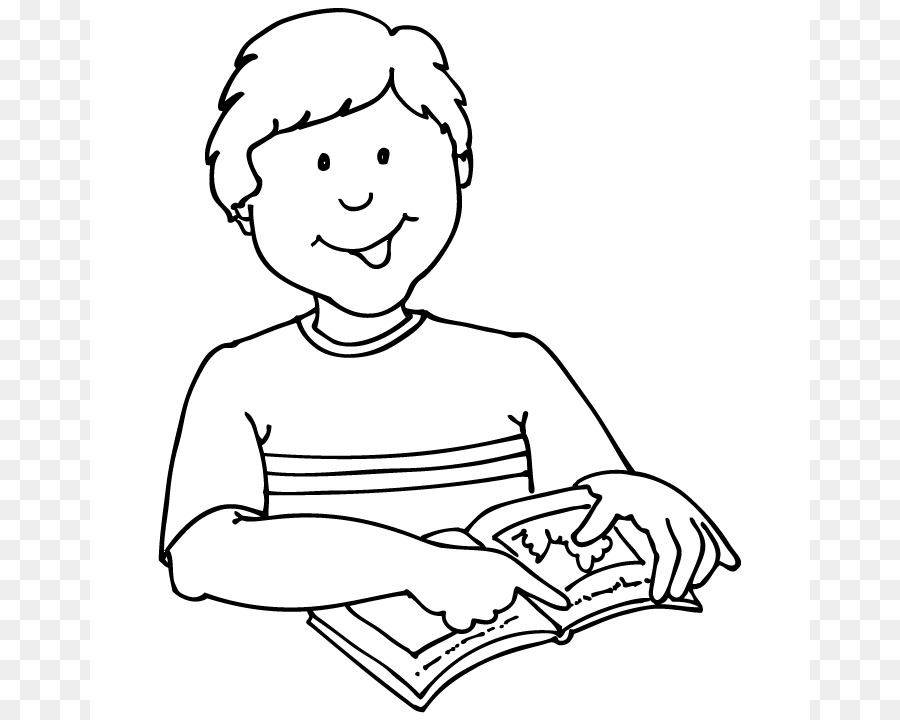 Boy Reading Black And White Png & Free Boy Reading Black And White.
