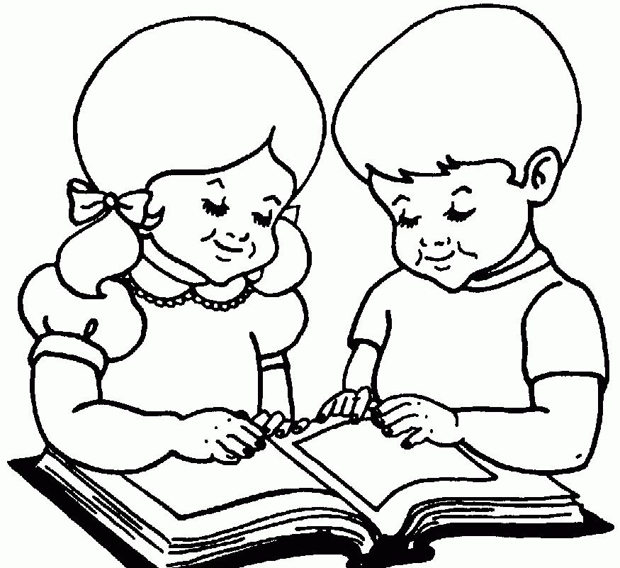 Kid Reading Black And White.
