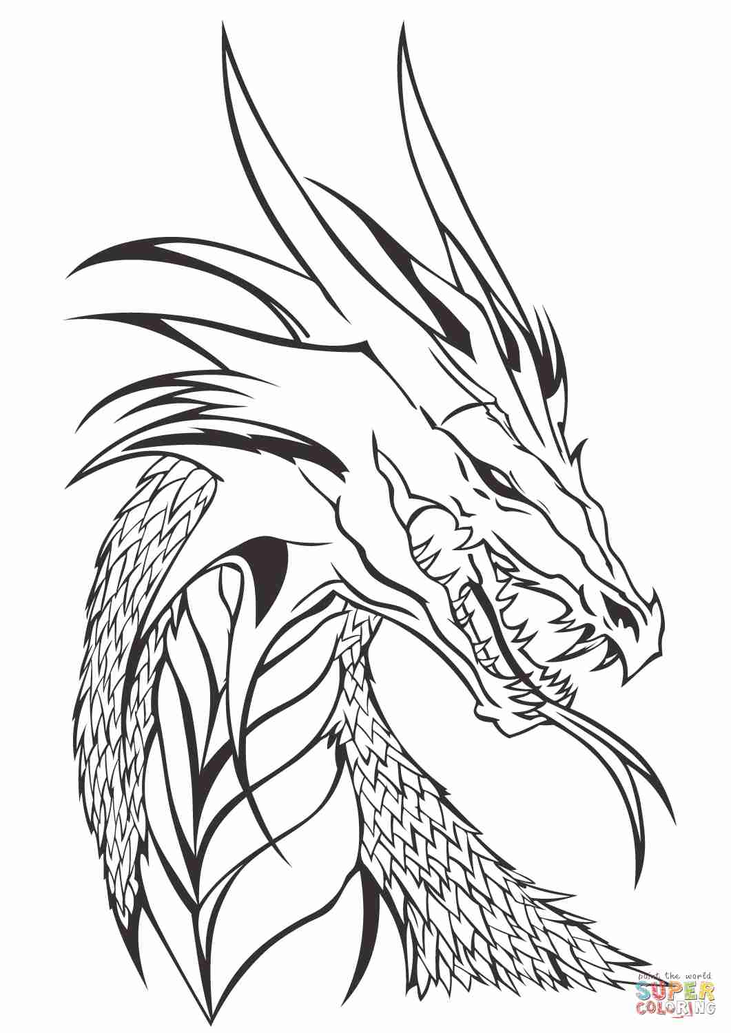Realistic Dragon Head Coloring Pages.