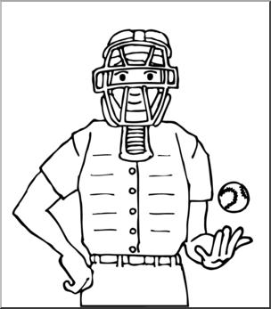 Clip Art: Baseball Umpire B&W I abcteach.com.
