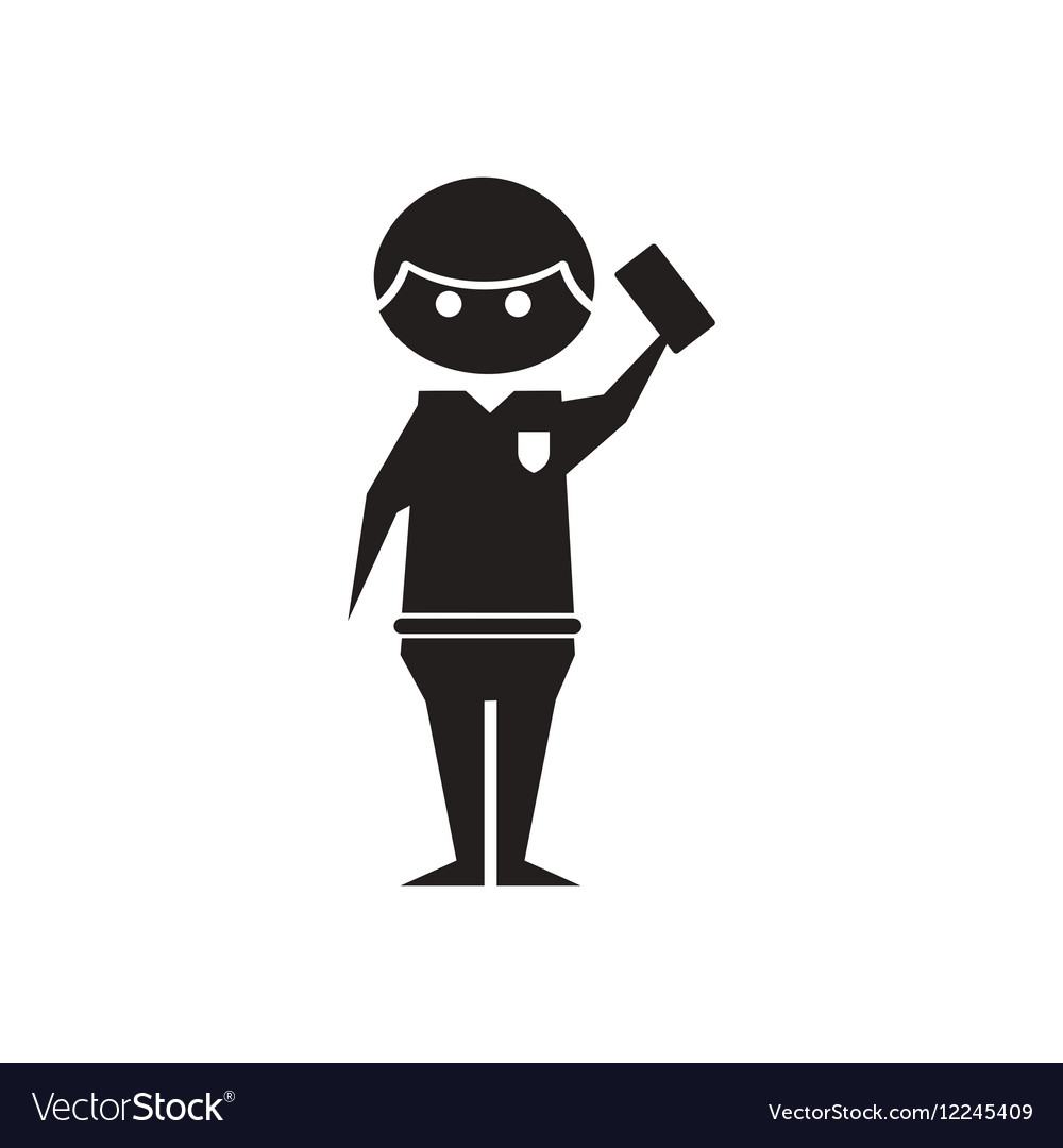 Flat icon in black and white referee.