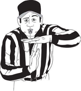 Soccer referee clipart black and white.