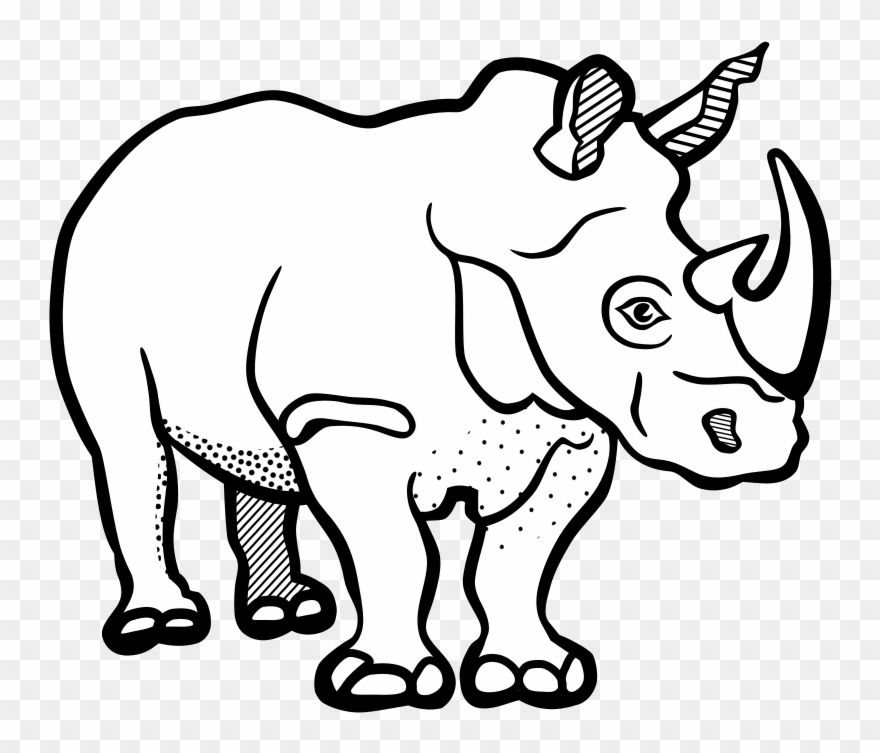 Rhinoceros Drawing Line Art Black And White Color.