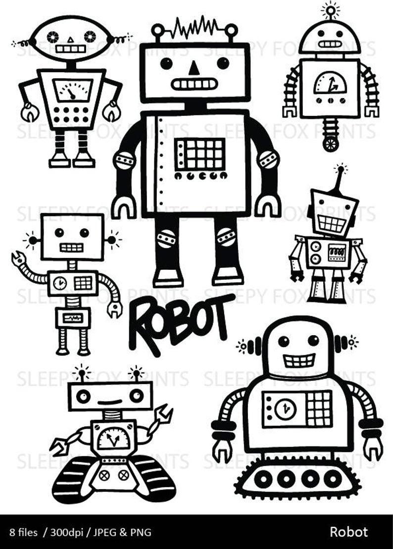 Robot Clipart, Digital Robots Clip Art, Birthday Clipart, Robot Party,  Retro Robot Clip Art.
