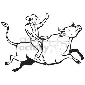 black and white rodeo cowboy bull riding side right clipart. Royalty.