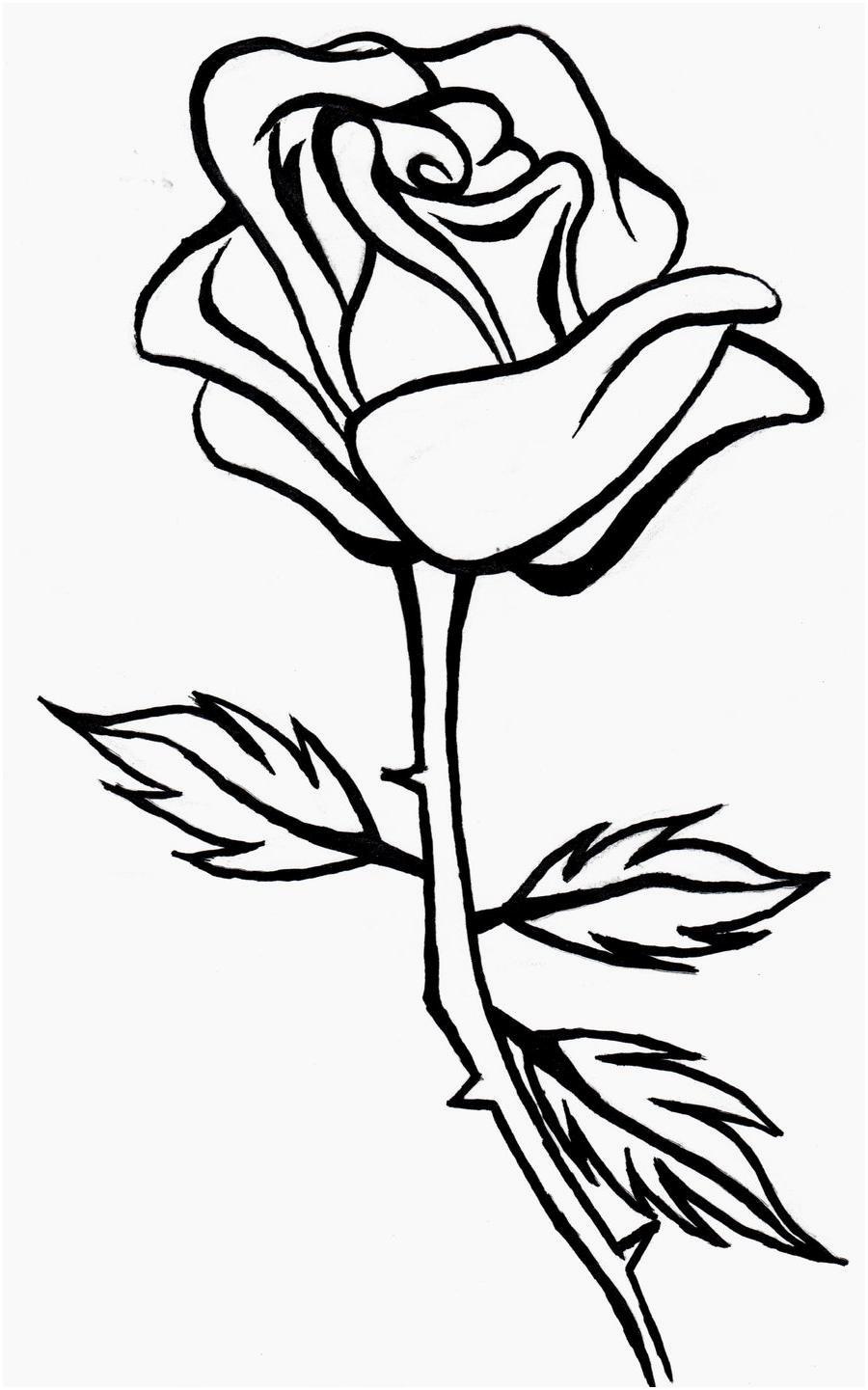 White Rose Clipart black line 12.