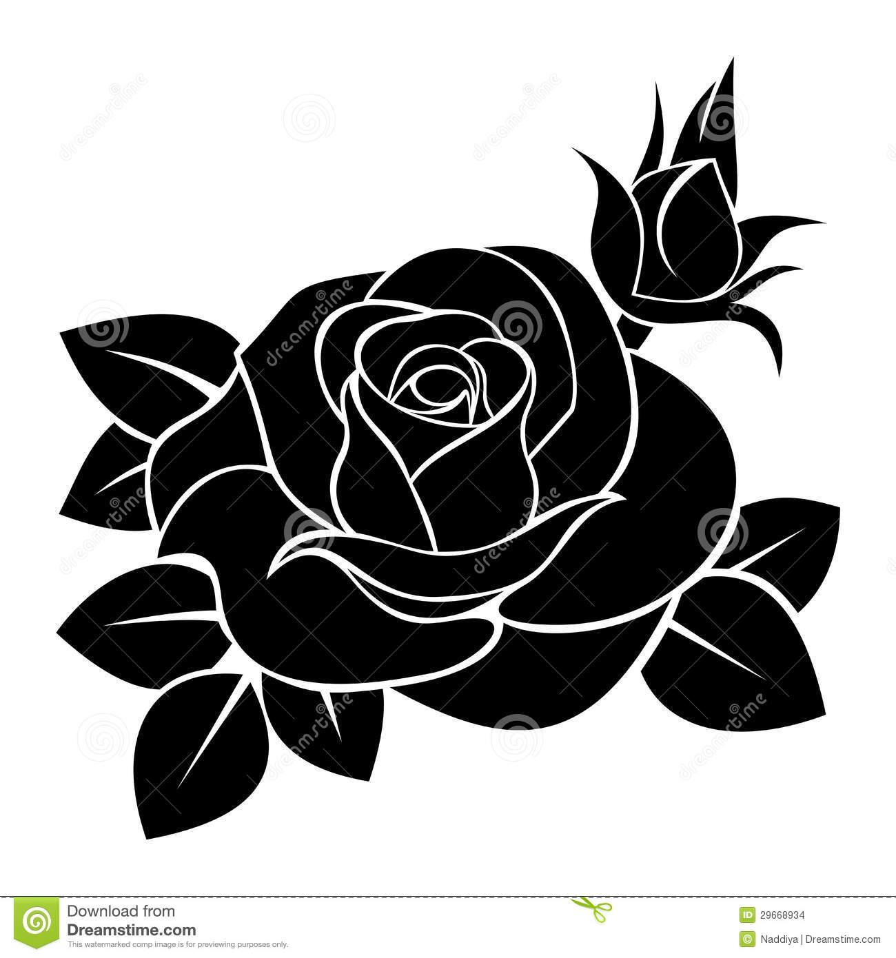 54+ Black And White Rose Clip Art.