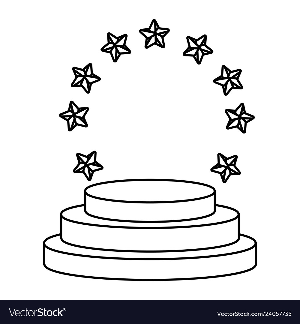 Stars round emblem frame black and white.