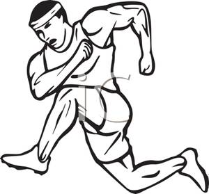 Running A Race Clipart Black And White.