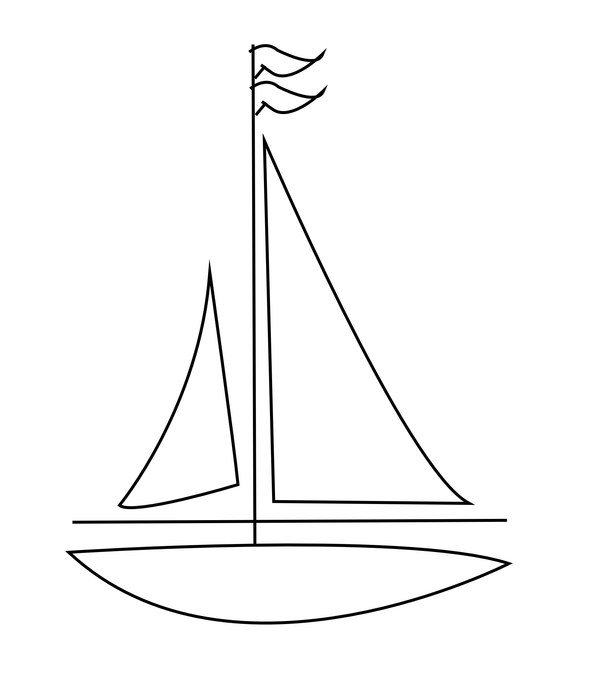 Line Drawing Boat : Sailboat clipart black and white clipground