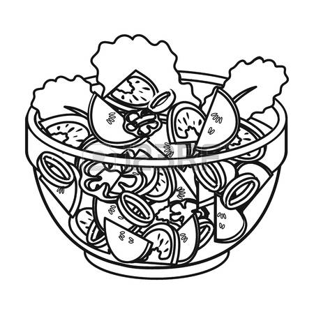 Vegetable Salad Clipart Black And White.