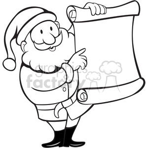 black and white santa holding blank list clipart. Royalty.