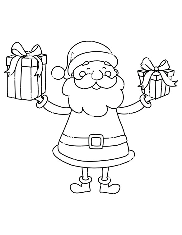 Black Santa Claus Holding A Couple Of Christmas Presents.