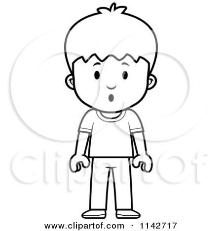 Black And White Scared Boy Clipart.