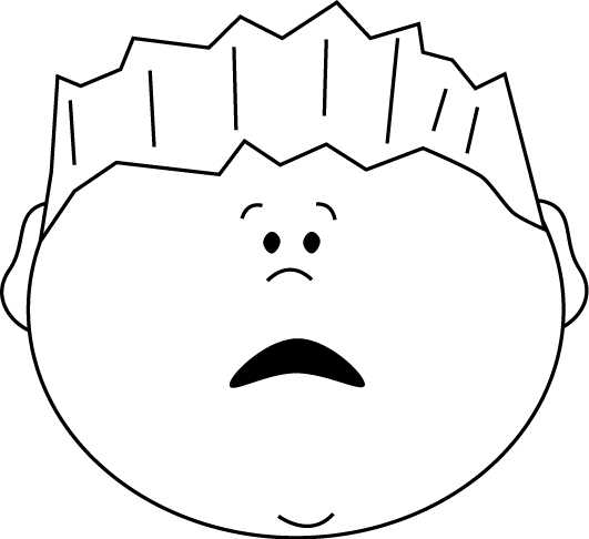 Black and White Scared Face Boy Clip Art.