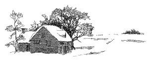 snow covered house, black and white graphics, winter country.