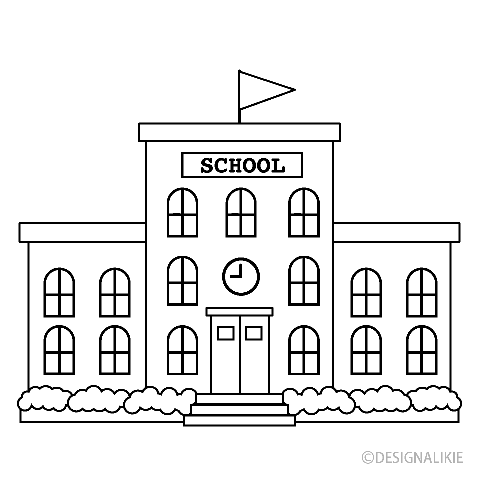 Black and White School Building Free Picture|Illustoon.