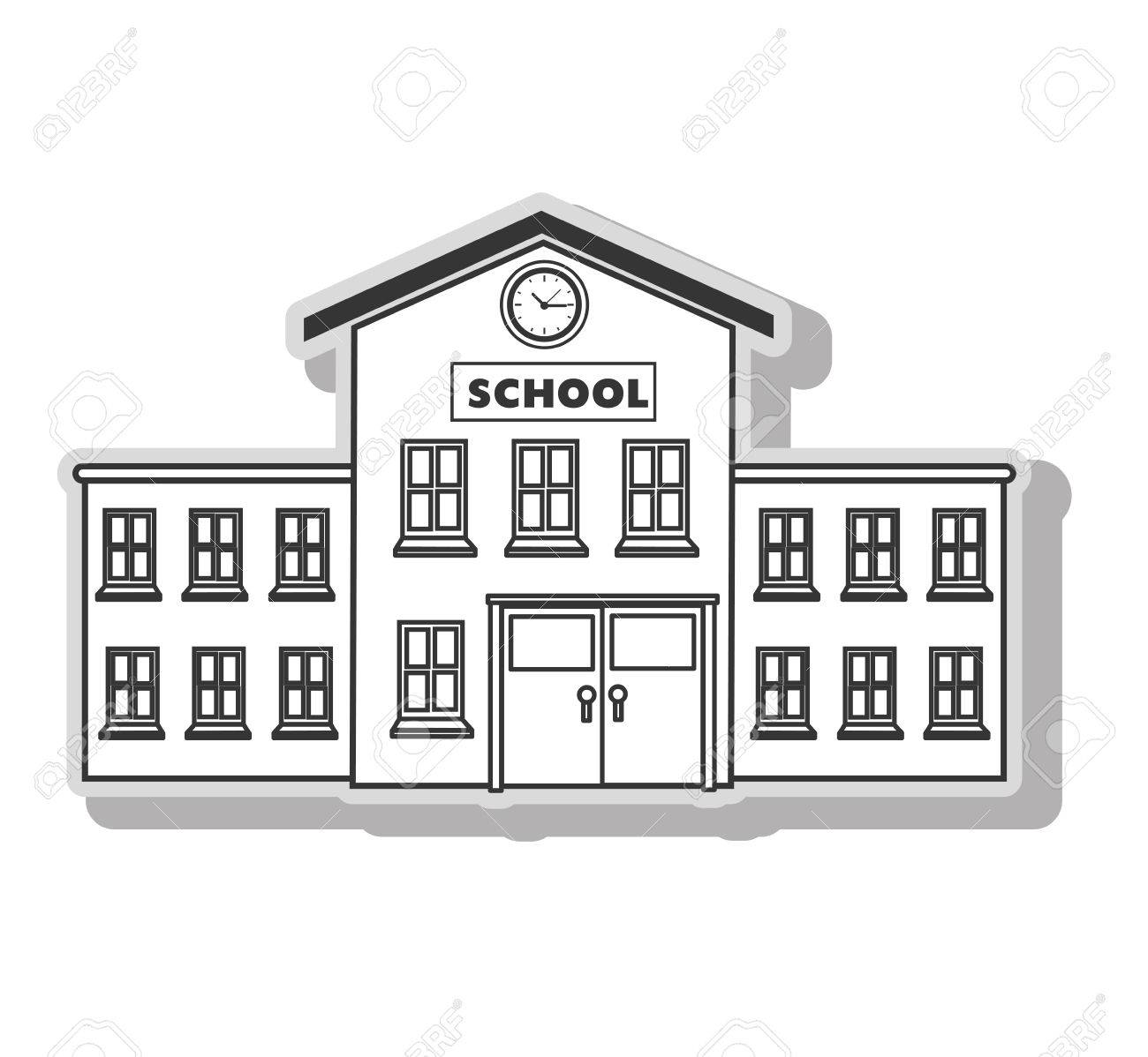School building architecture in black and white colors, isolated...