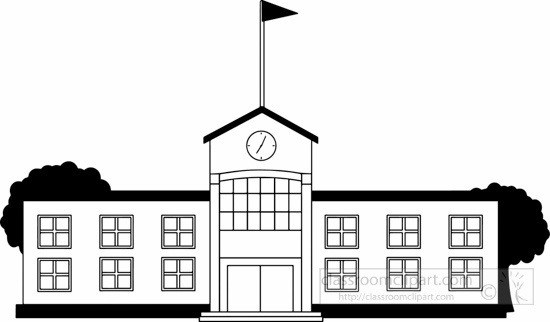 School Clipart Black And White School Building Clipart Black And in.