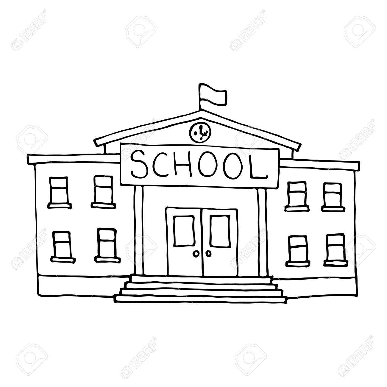 School building doodle. Outlined on white background..