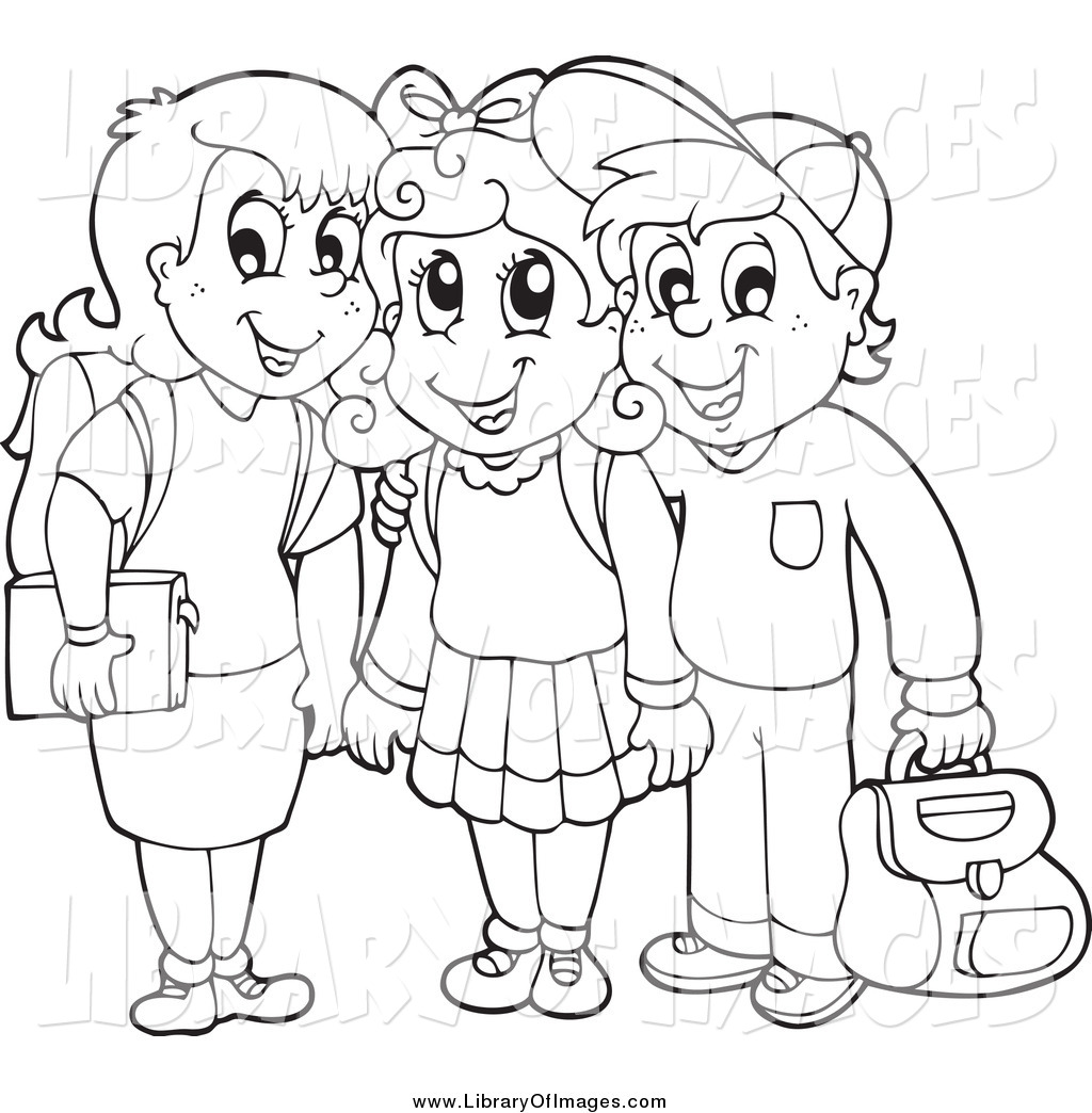 Black And White School Children Clipart.