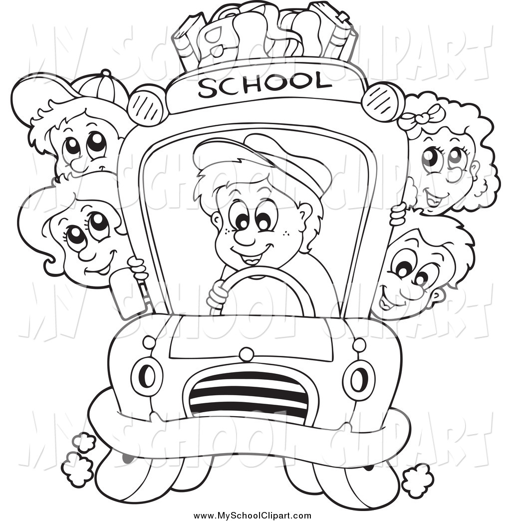 Children And School Clipart Black And White.