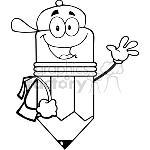 5909 Royalty Free Clip Art Happy Pencil Student Going To School clipart.  Royalty.