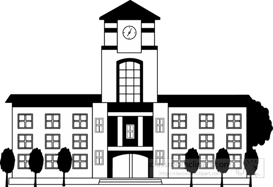 College Free Black And White School Clipart Transparent Png.