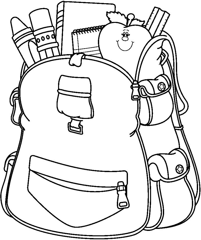 School Supplies Black And White Clipart.