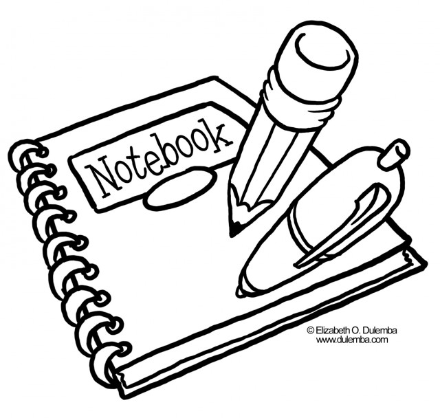 Black And White Clipart School Supplies.