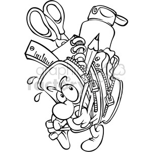black and white cartoon backpack full of school supplies clipart.  Royalty.