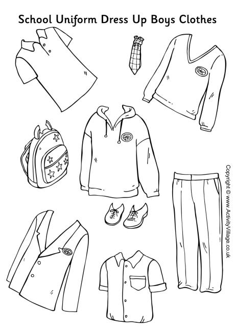 Here's a set of girls' school uniform to colour, cut out and use.