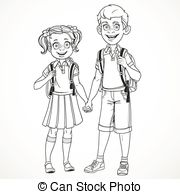 Vectors of school boy and girl with bag illustration csp20916839.