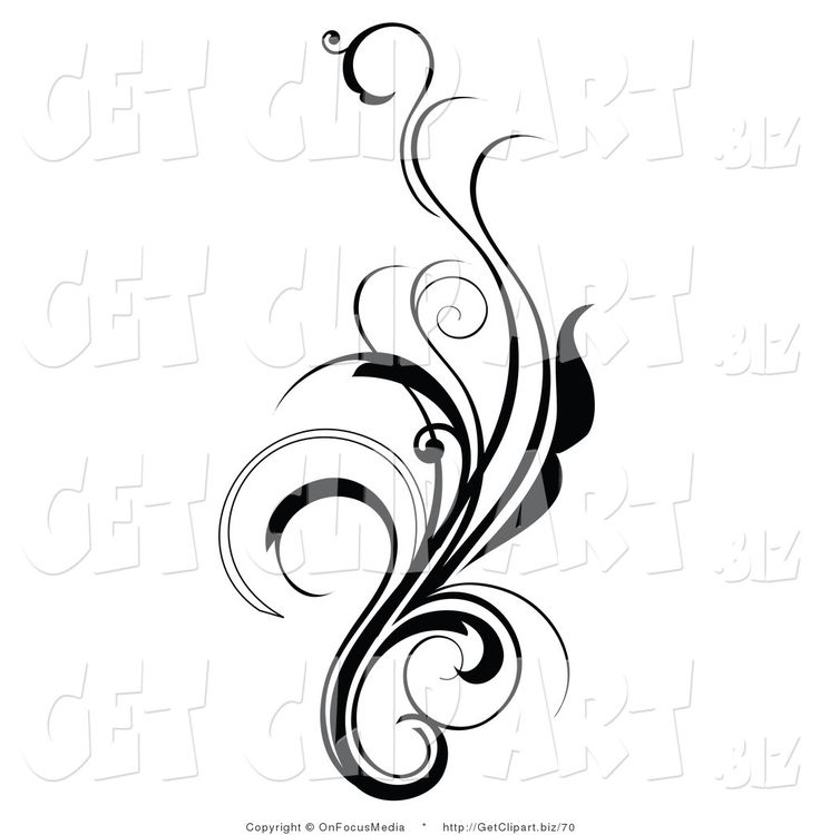 Clip Art of an Elegant and Curly Black and White Design Scroll.