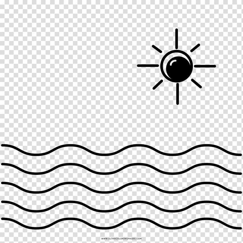 Coloring book Drawing Sea Line art Black and white, sea.