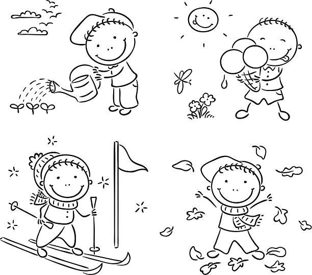 4 Seasons Clipart Black And White.