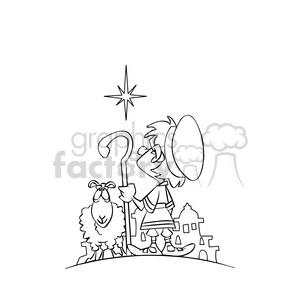 cartoon north star sheep shepherd black white clipart. Royalty.