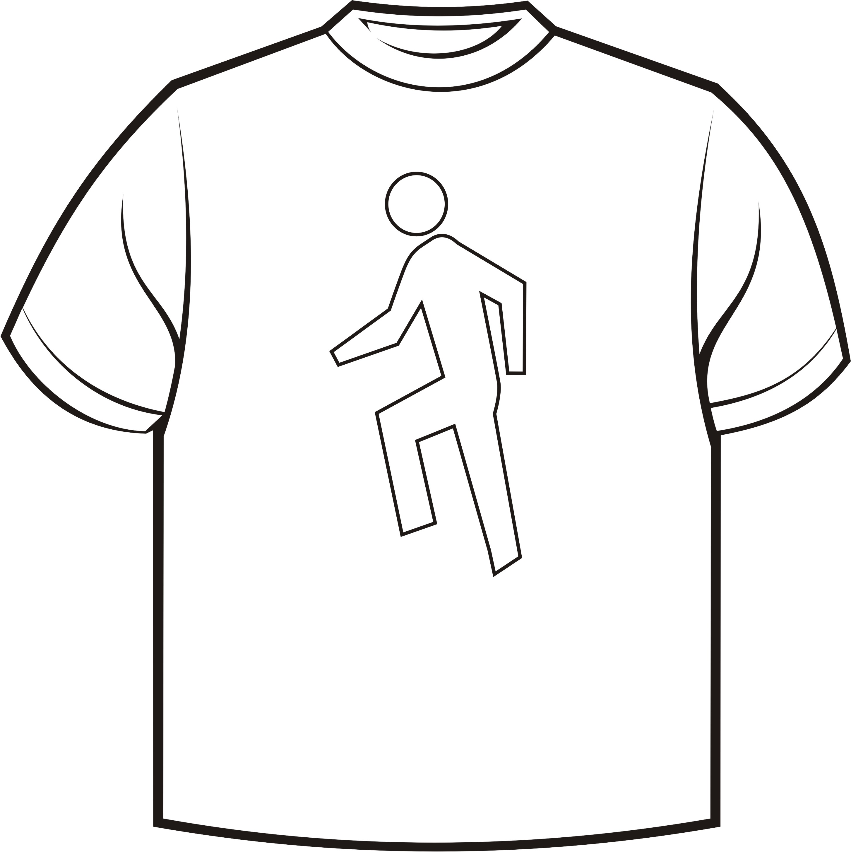 Shirt Character Clipart Black And White.