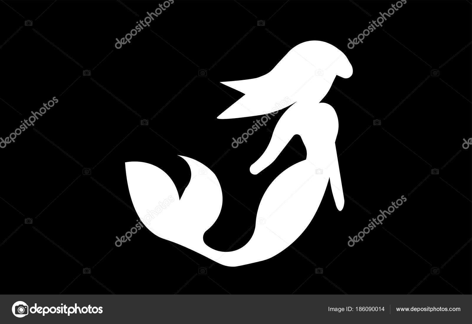 Clipart: black and white mermaid.
