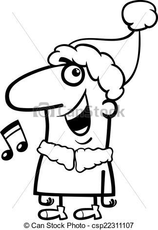 Vector Clipart of santa singing carol coloring page.